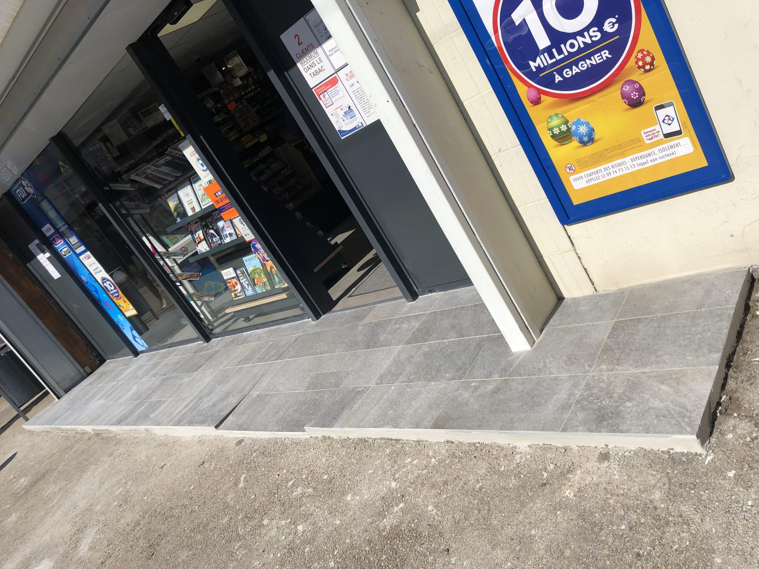 Rénovation sol devanture magasin